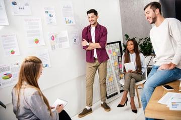 Marketing team working efficiently