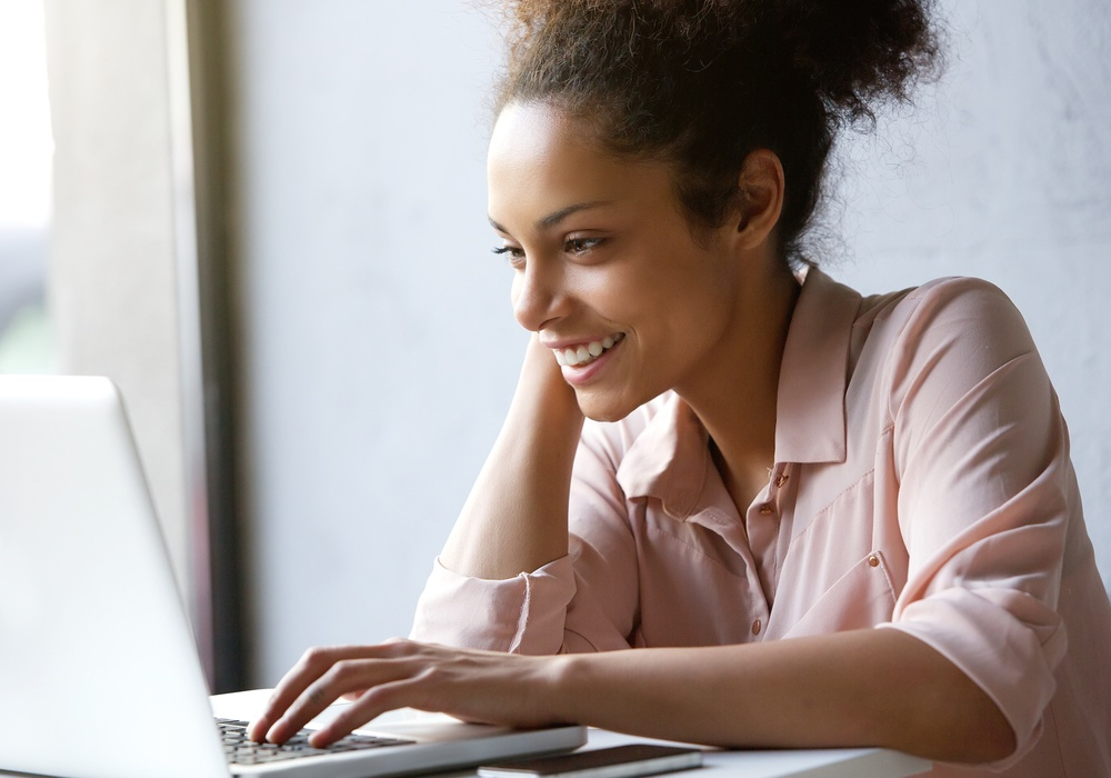 woman enjoys social media content